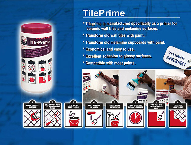 Manufactured specifically as a primer for ceramic wall tiles and melamine surfaces